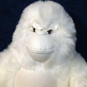 "RARE Shalom Toy White Gorilla Plush Ape Vinyl 10"""
